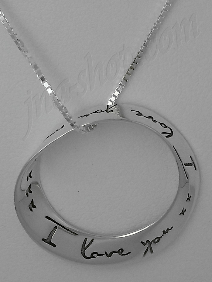 Sterling Silver I Love You More Eternity Infinity Circle Mobius Pendant Necklace