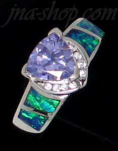 Sterling Silver Opal Ring w/Trilliant-Cut Amethyst CZ & Clear CZ's Sz 7