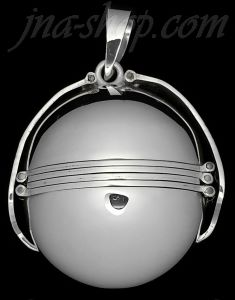 Sterling Silver Large 6-Picture Photo Ball Locket Pendant