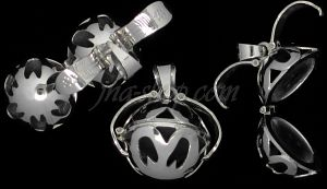 Sterling Silver 2-Picture Photo Ball Openwork Design Locket Char