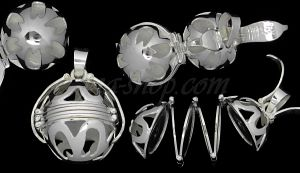 Sterling Silver 6-Picture Photo Ball Openwork Design Locket Char
